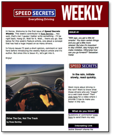 speed secrets weekly newsletter sample image